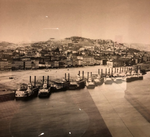 steamboats docked and silent