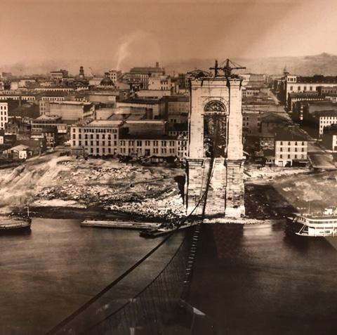 Bridge construction in Cincinnati 1860s