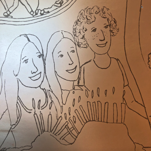 A drawing of three teenage girls with a sunken birthday cake