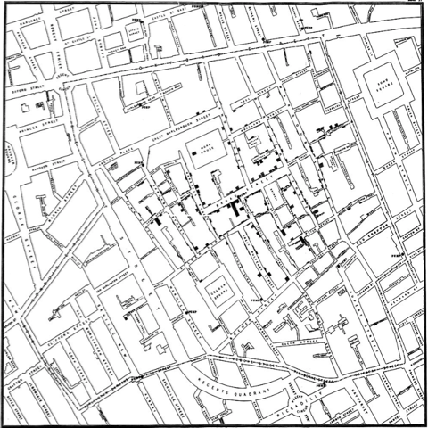 Map by John Snow showing cholera deaths in relation to public water sources