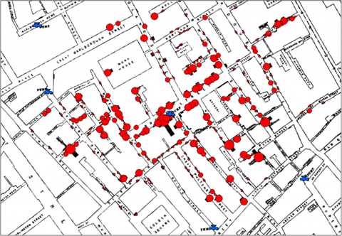 Enhanced map showing red dots for cholera deaths in relation to blue public water sources