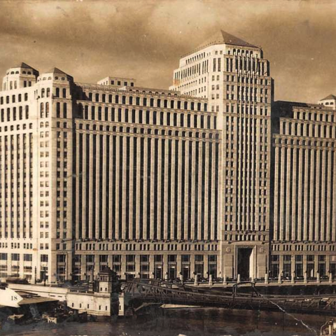 Closeup photo of the Merchandise Mart when it was first built