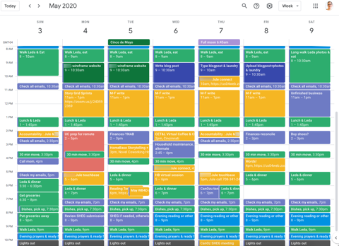 A fully scheduled appointment calendar, with blocks of time in yellow, blue and green