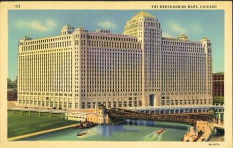 Old color postcard of the Merchandise Mart