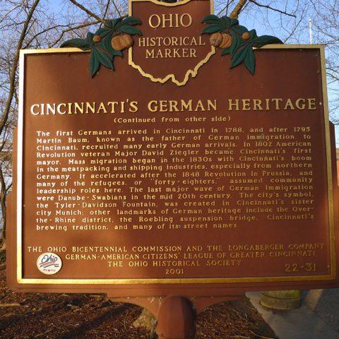 "Ohio Historical Marker titled, ""Cincinnati's German Heritage"""