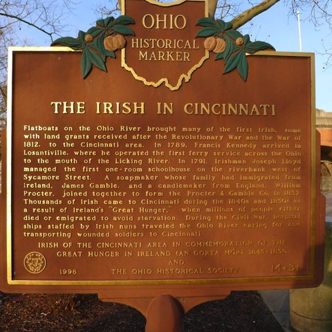 "Ohio Historical Marker titled, ""The Irish in Cincinnati"""