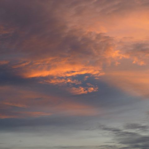 bright orange clouds at sunset