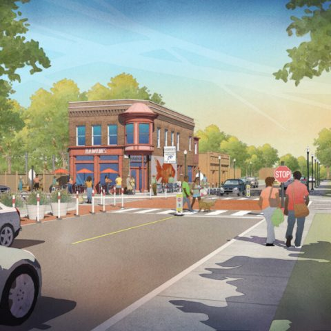 Architect's rendering of a redeveloped neighborhood with a safe sidewalk