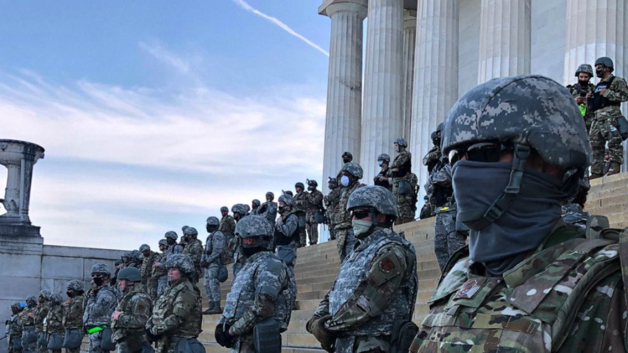 National Guard standing guard at the Lincoln Memorial, June 2, 2020