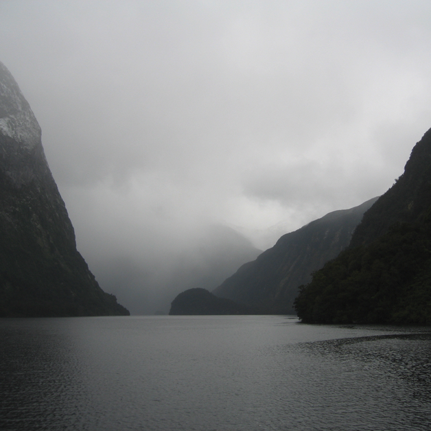 Milford Sound, shrouded in clouds