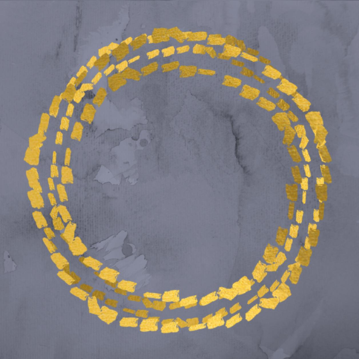 Artwork of three gold circles circumscribing an arena, on a grey water color backgroun
